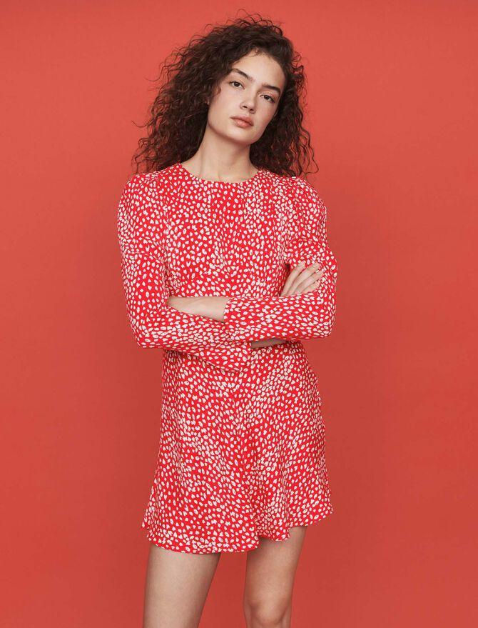 Vestido fruncido estampado en Jacquard - Vestidos - MAJE