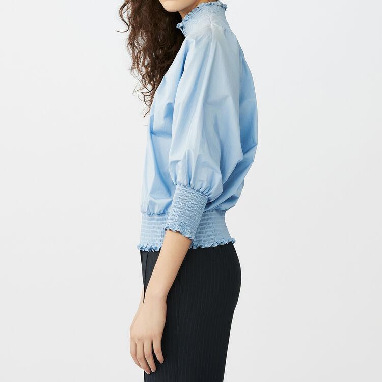 Blusa en popelina de algodon : Tops color Azul
