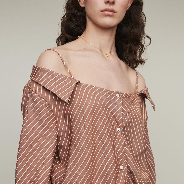 Vestido-camisero rayado : Vestidos color Terracota