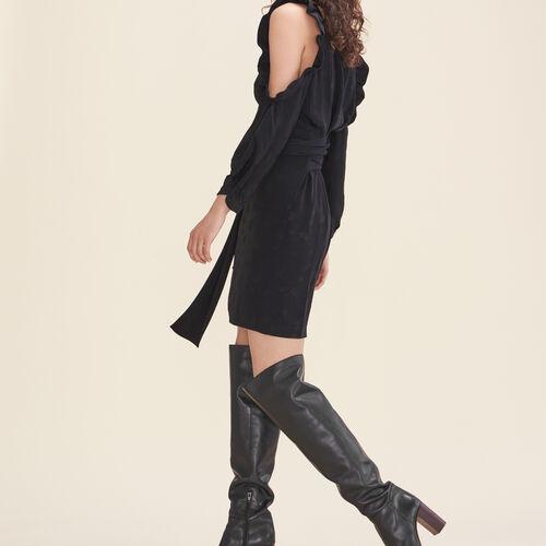 Vestido estampado crepé hombros al aire : Vestidos color Negro