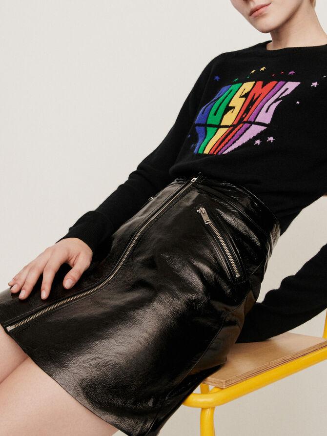 Falda de cuero tipo vinilo y cremallera - Midseason-Sales_UK_30% - MAJE