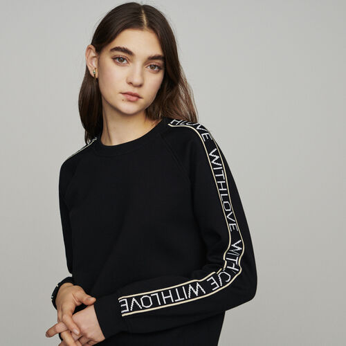 "Sweat ""With Love"" on sleeves : Sudareras color Negro"