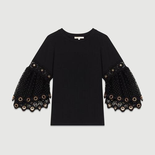 Camiseta con mangas de guipur : T-Shirts color Negro