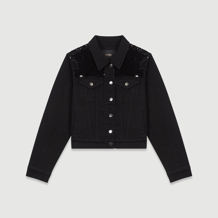 Cazadora de jean y lentejuelas : Abrigos y Cazadoras color Negro