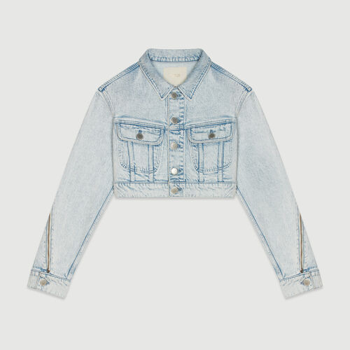 Chaqueta corta en denim desteñido : Abrigos y Cazadoras color Denim