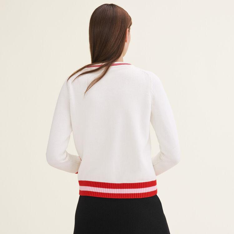 Jersey con pedrería de fantasía : Jerseys y cárdigans color Crudo