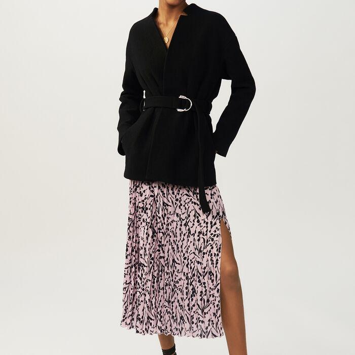 Abrigo corto con cinturón : Abrigos color Negro