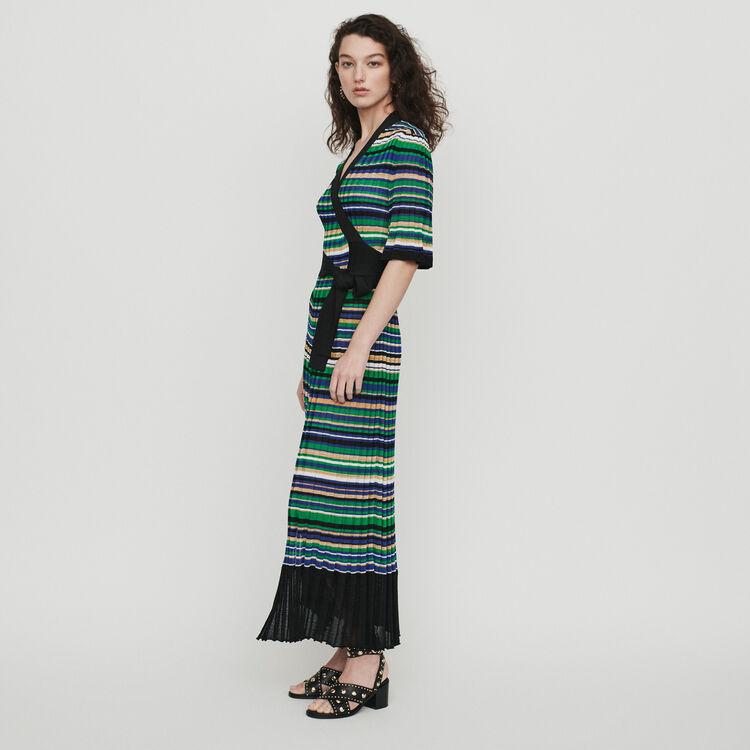 Vestido largo de punto rayado : Vestidos color Multicolor