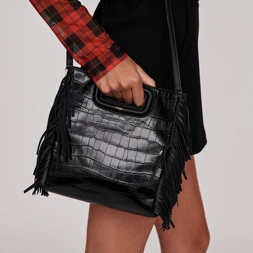Bolso M de cuero en relieve cocodrilo : Bolsos M color Negro