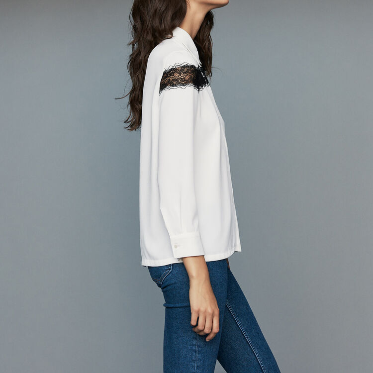 Blusa con encaje : Camisas color Crudo