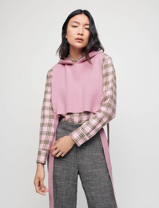 Cuello de punto con capucha : Jerséis y cárdigans color Rosa