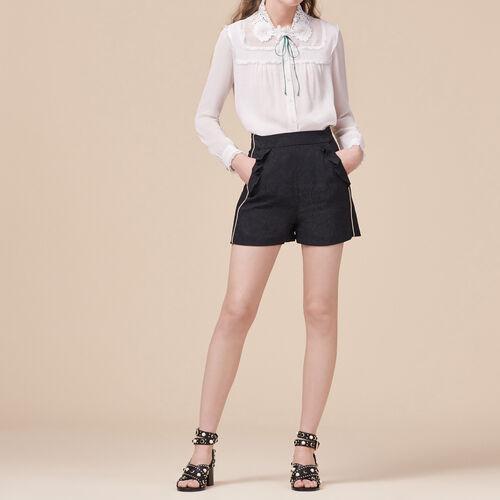 Short con estampado brocado : Faldas y shorts color Negro