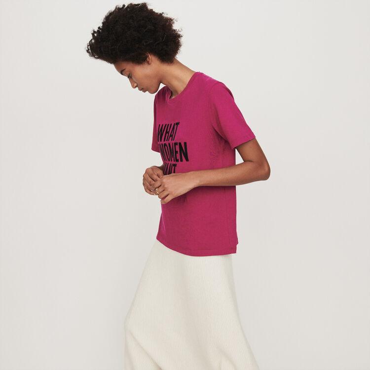 Camiseta bordada mangas cortas : T-Shirts color Fucsia