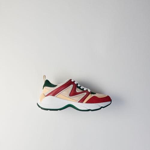 Sneakers W22 en mezcla de materias : Sneakers color VERT