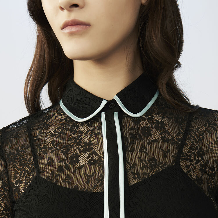 Vestido patinadora de encaje : Vestidos color Negro