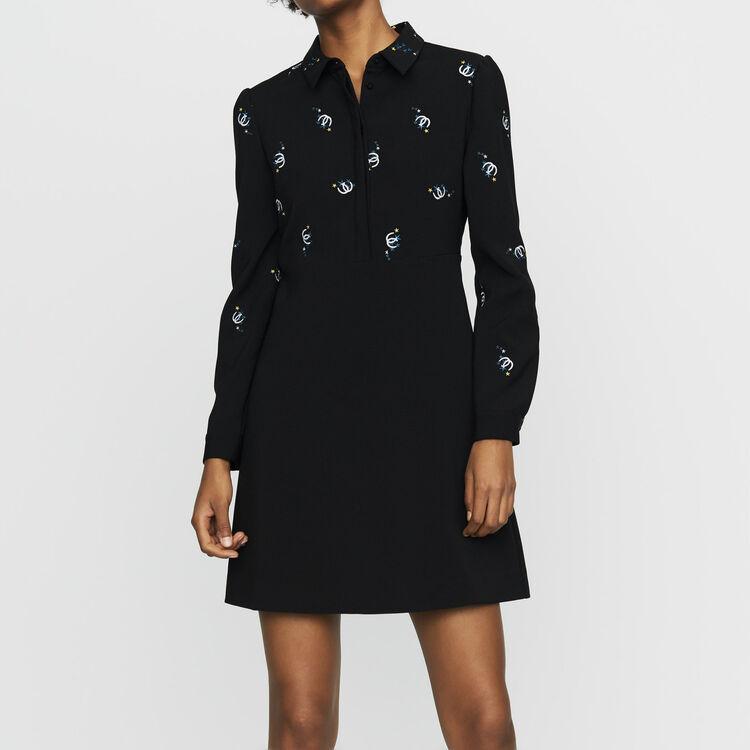 Vestido camisero de algodón : Vestidos color Negro