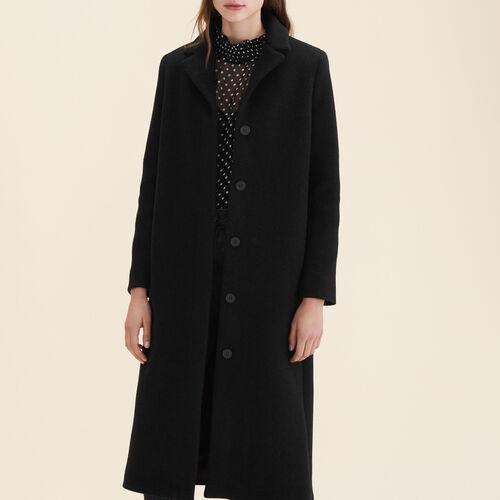 Abrigo largo de mezcla de lana : Abrigos color Antracita