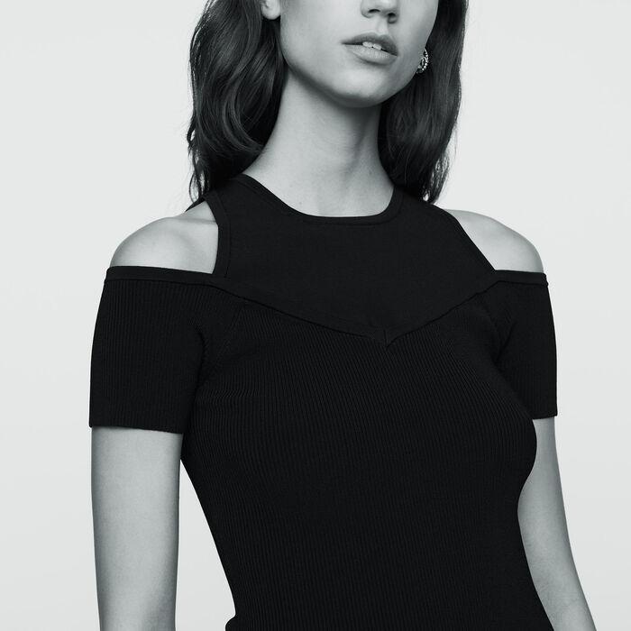 Camiseta de punto con hombros : Malla color Negro