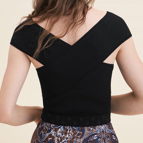 Top sin mangas de punto de canalé : Jerseys y cárdigans color Negro