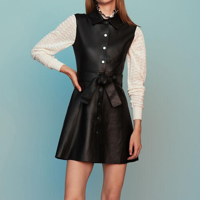 Vestido camisero sin mangas de cuero : Nueva Colección color Negro