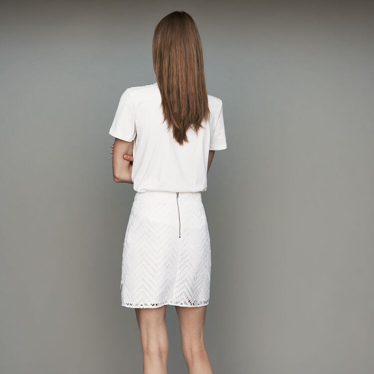 Falda corta con juego de encaje : Faldas y shorts color Blanco