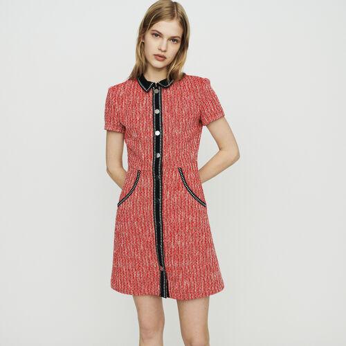 Vestido efecto tweed : Vestidos color Rojo