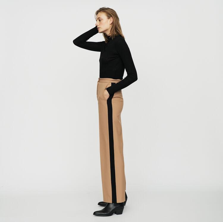 Pantalón con pinzas y bandas a contraste : Pantalones color Camel