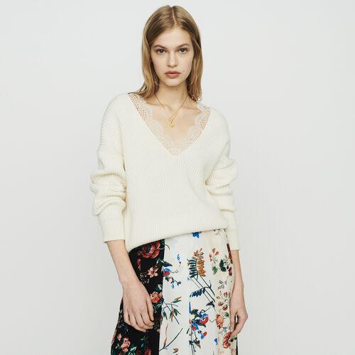 Jersey loose con encaje : Malla color ECRU