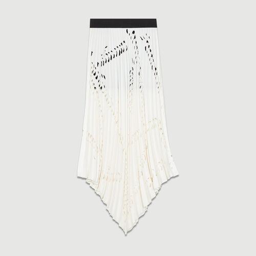 Falda larga con plisado perforado : Faldas y shorts color Blanco