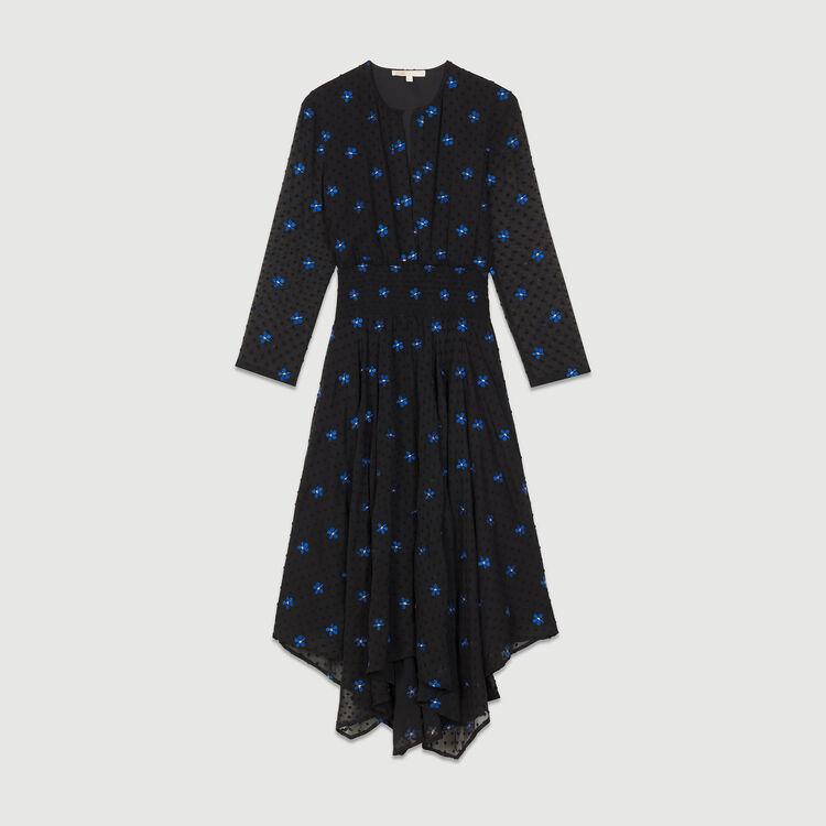 Vestido bordado de muselina : Vestidos color Negro