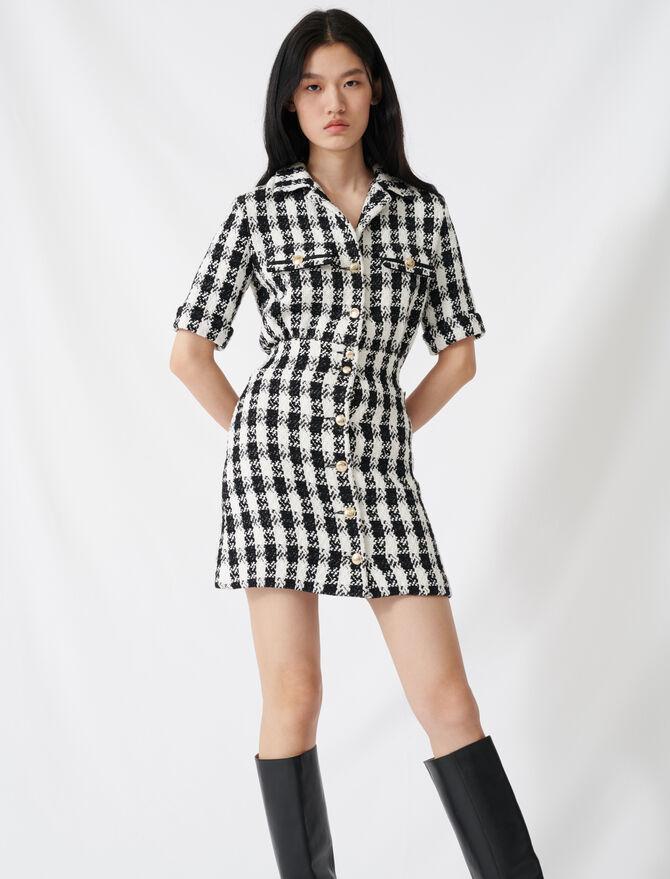 Vestido corto estilo tweed - Vestidos - MAJE