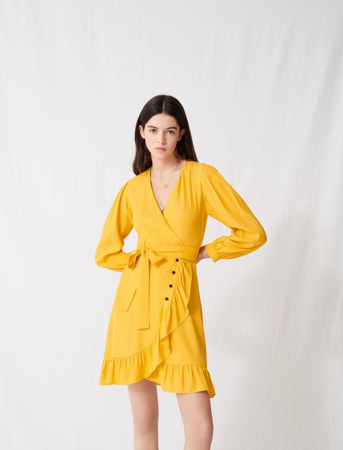 Vestido cruzado amarillo intenso anudado - Vestidos - MAJE