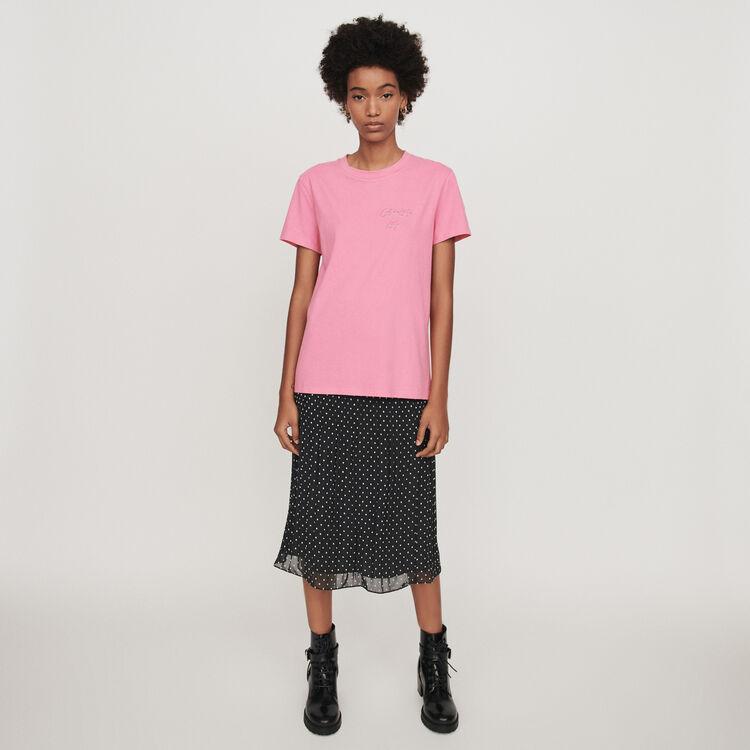 Camiseta bordada mangas cortas : T-Shirts color Rosa