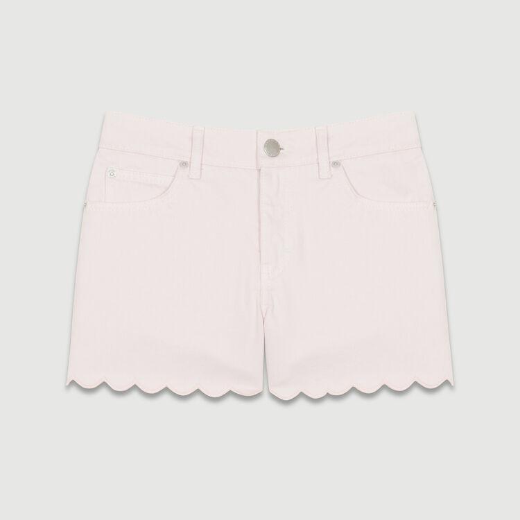 Short en denim con cortes fantasía : Faldas y shorts color Rosa