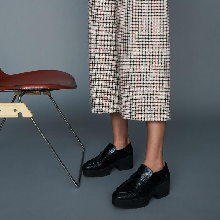 Mocasines de cuero efecto croco : Zapatos planos color Negro
