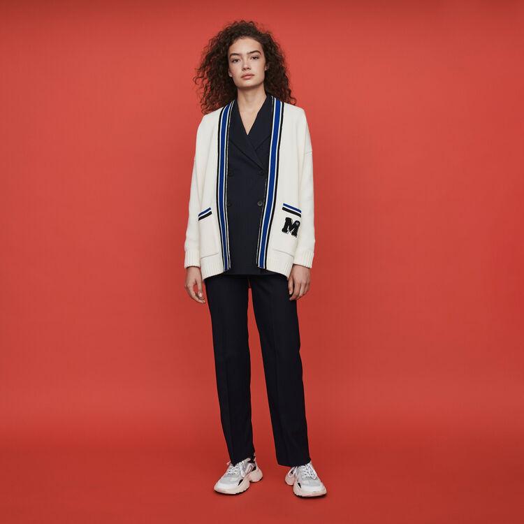 Cárdigan bandas a contraste y bordadas : Jerseys y cárdigans color Crudo