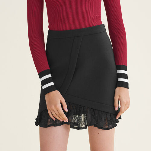 Falda asimétrica con detalles de encaje : Faldas y shorts color Negro