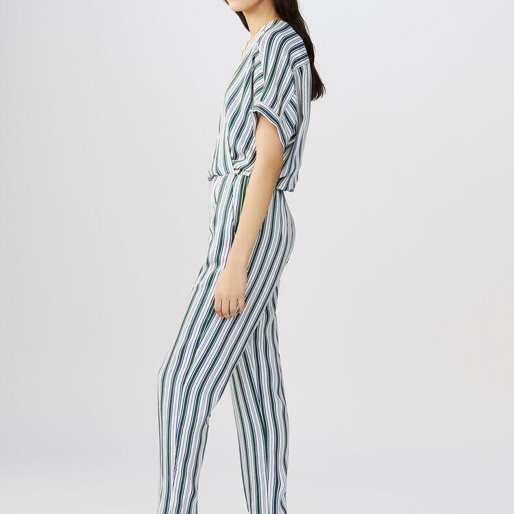 Mono pantalón de jacquard rayado : Pantalones color Rayas