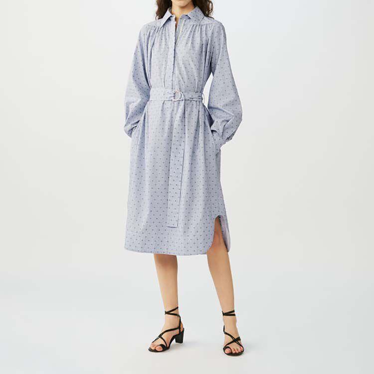 Vestido camisero de rayas bordadas : Vestidos color Azul