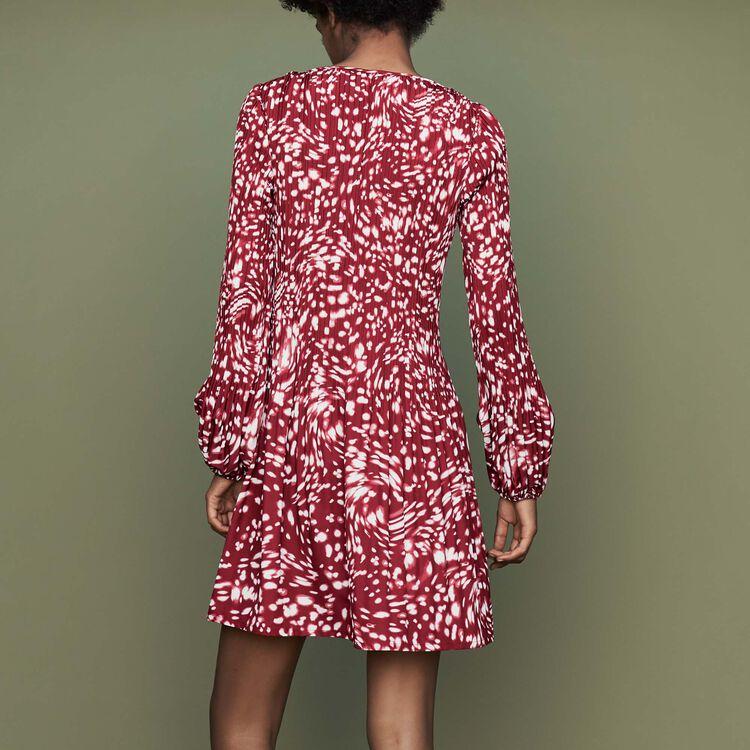 Vestido plisado estampado fantasía : Burdeos color IMPRIME