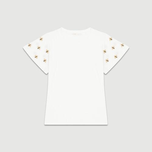 Camiseta con abejas bordadas : T-Shirts color Crudo