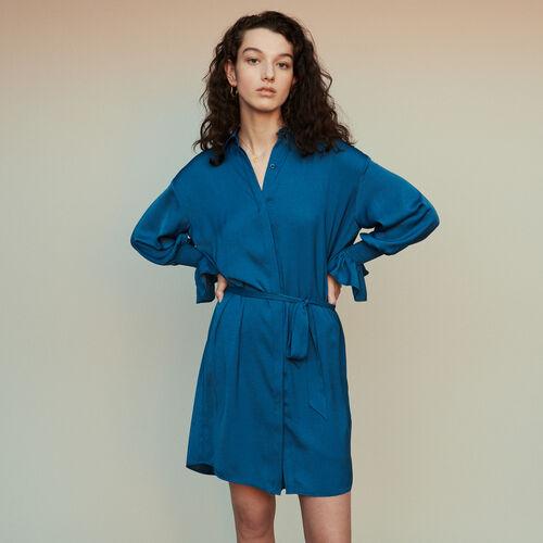 Vestido camisero fruncido a la cintura : Vestidos color Azul