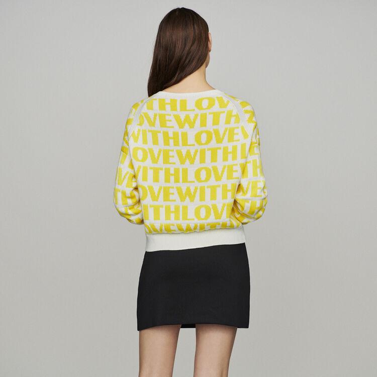 Jersey de Jacquard con mensaje : Jerseys y cárdigans color Amarillo