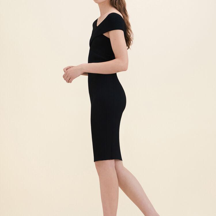 Vestido sin mangas de punto de canalé : Vestidos color Negro