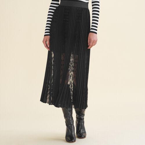 Falda plisada con encaje : Faldas y shorts color Negro