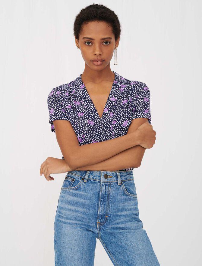 Camisa de crepé estampada con lazo - Tops y Camisas - MAJE