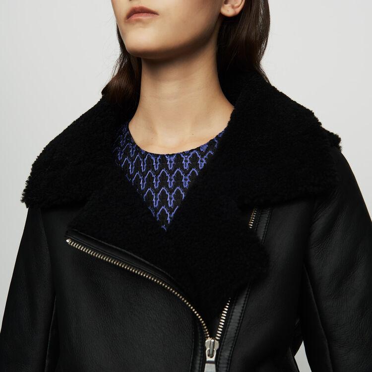 Cazadora biker de piel de lana : Cazadoras color Negro