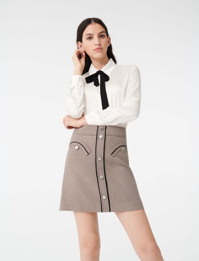 Blusa de raso con corbata a contraste - Tops y Camisas - MAJE