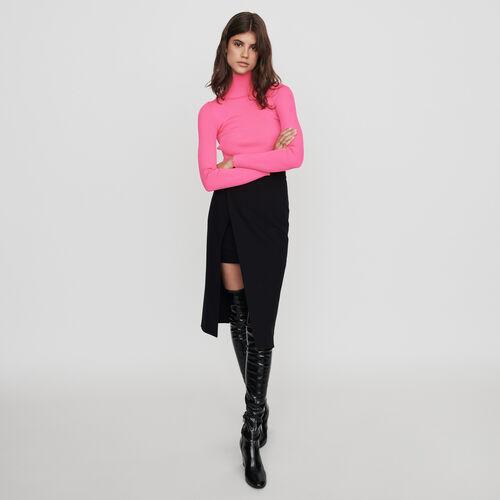 Falda midi recta y endida : Colección invierno color Negro