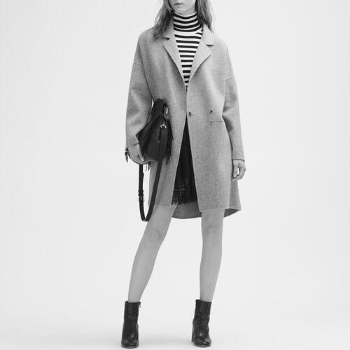 Abrigo de lana de doble cara : Abrigos color Negro